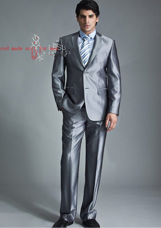 Customsilver Gray Tailcoat Groom Wedding Tuxedos For Me Morning ...