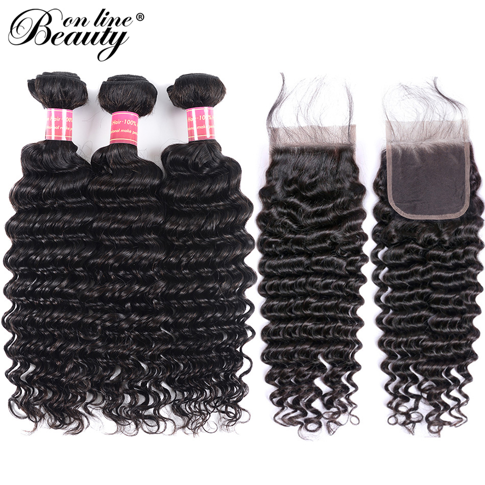 Beauty On Line Deep Wave Hair Bundles With Closure Remy Malaysian Human Hair Weave 3 Bundles With Closure Free Middle Three Part