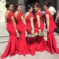 New Vestidos de madrinha 2016 Elegant Red Lace Mremaid Bridesmaid Dress V-Neck Cap Sleeve Backless Satin Bridesmaid dresses long