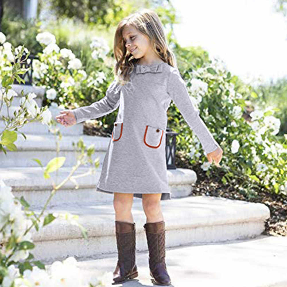 Toddler Autumn Baby Girls Winter Dress Outfits Long Sleeve Clothes Butterfly Knot Solid Infant Toddler Girls Dress Vestidos 2019
