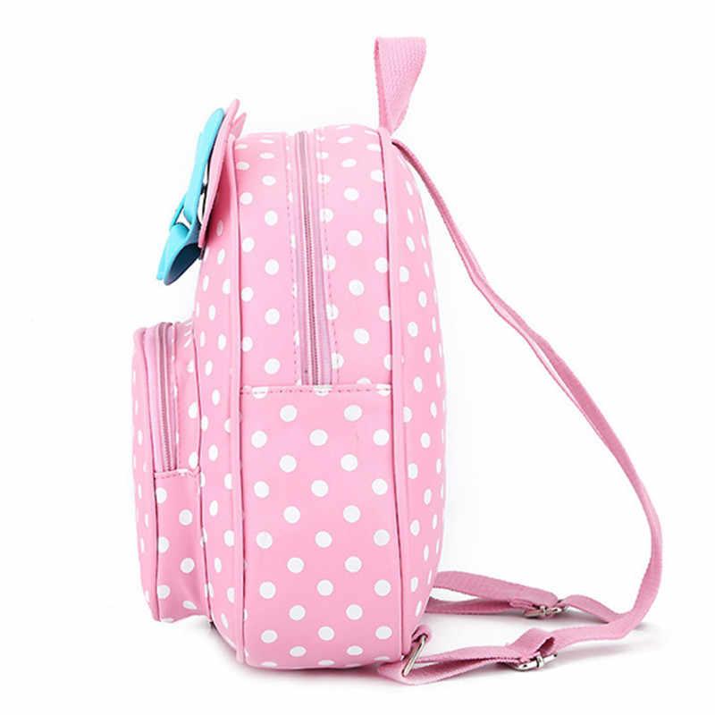 Crianças sacos para meninas do jardim de infância crianças sacos de escola dos desenhos animados gravata borboleta bonito pontos mochila da escola do bebê berçário da criança