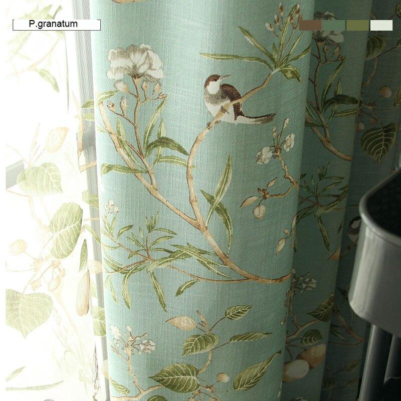 Leinen Blaue Farbe Fenster Vorhang Amerikanischer Rustikalen Stil Vorhänge  Für Wohnzimmer Vögel Gedruckt Vorhänge Home Decor 0182