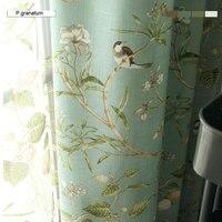 Lino color azul ventana cortina estilo rústico americano Cortinas para sala Aves impreso cortinas decoración 0182