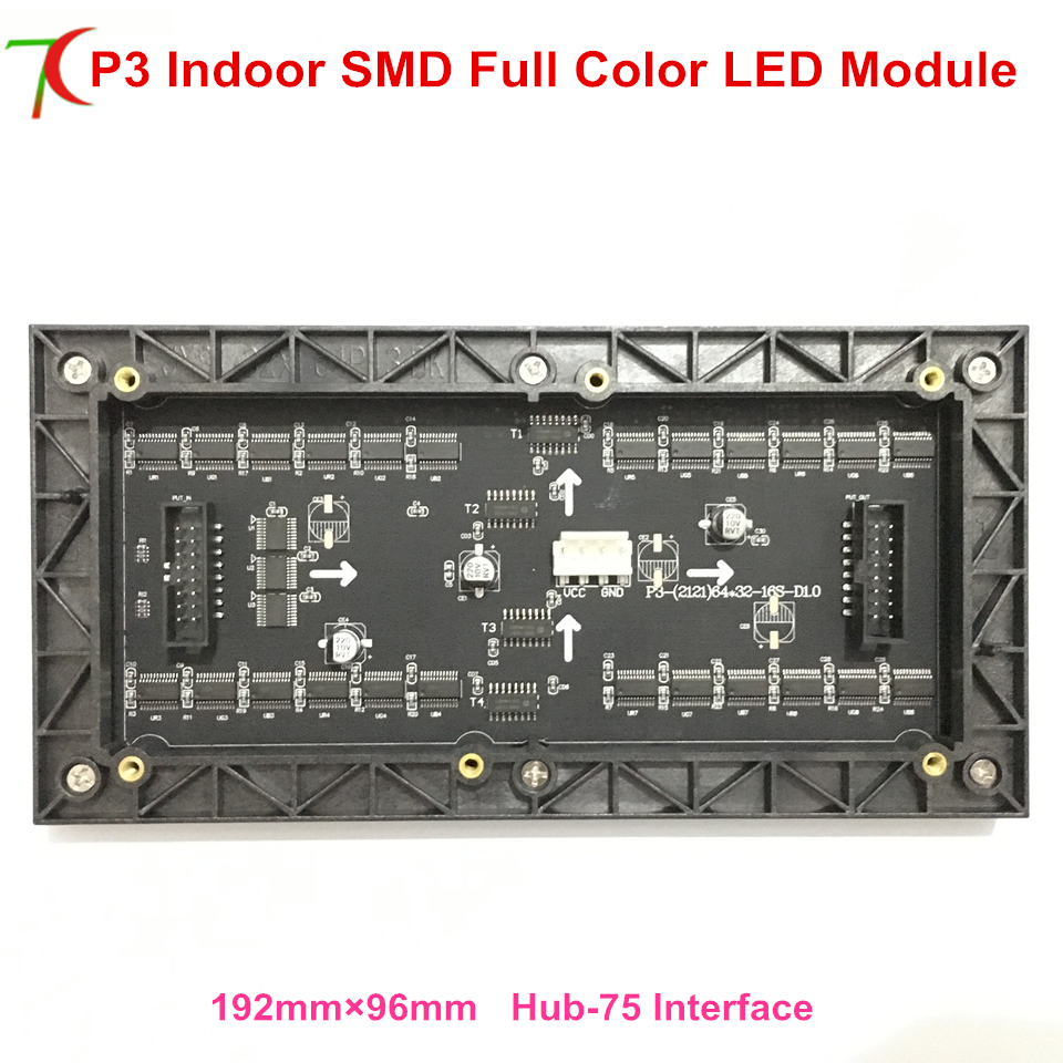 China factory sales free shipping <font><b>P3</b></font> indoor 192*96mm 16scan full color led screen <font><b>module</b></font> widely use for led video wall image