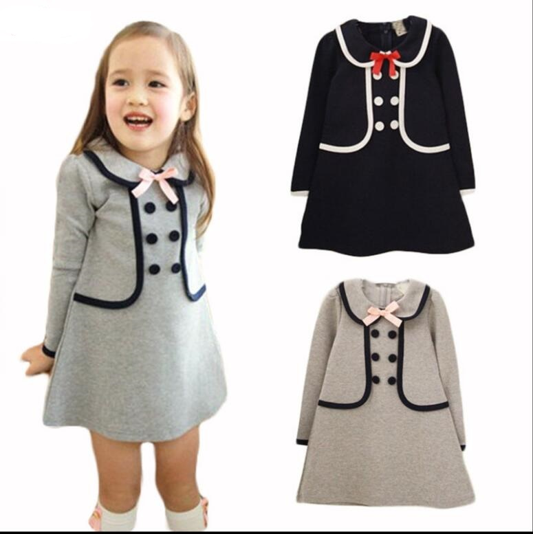 2017 Spring Autumn New Arrival Cotton Girl Korean Clothes Doll Collar Long Sleeved  knee-length Dress Kids Clothing Party HB2188 polo golf clothes costume lady golf zipper collar shirt cotton autumn jacket long sleeved tshirt fashion korean female clothing