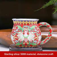 Silber Tee Tasse Cloisonné Reinem Silber Gerechtigkeit Tasse Reine Handarbeit Silber Tee Hai Kung Fu Tee-Set