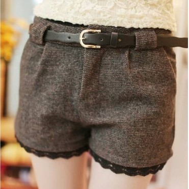2018 New Arrival Fashionable Woman Bootcut Trousers Culottes Short Winter Boots Shorts Winter Wool Shorts