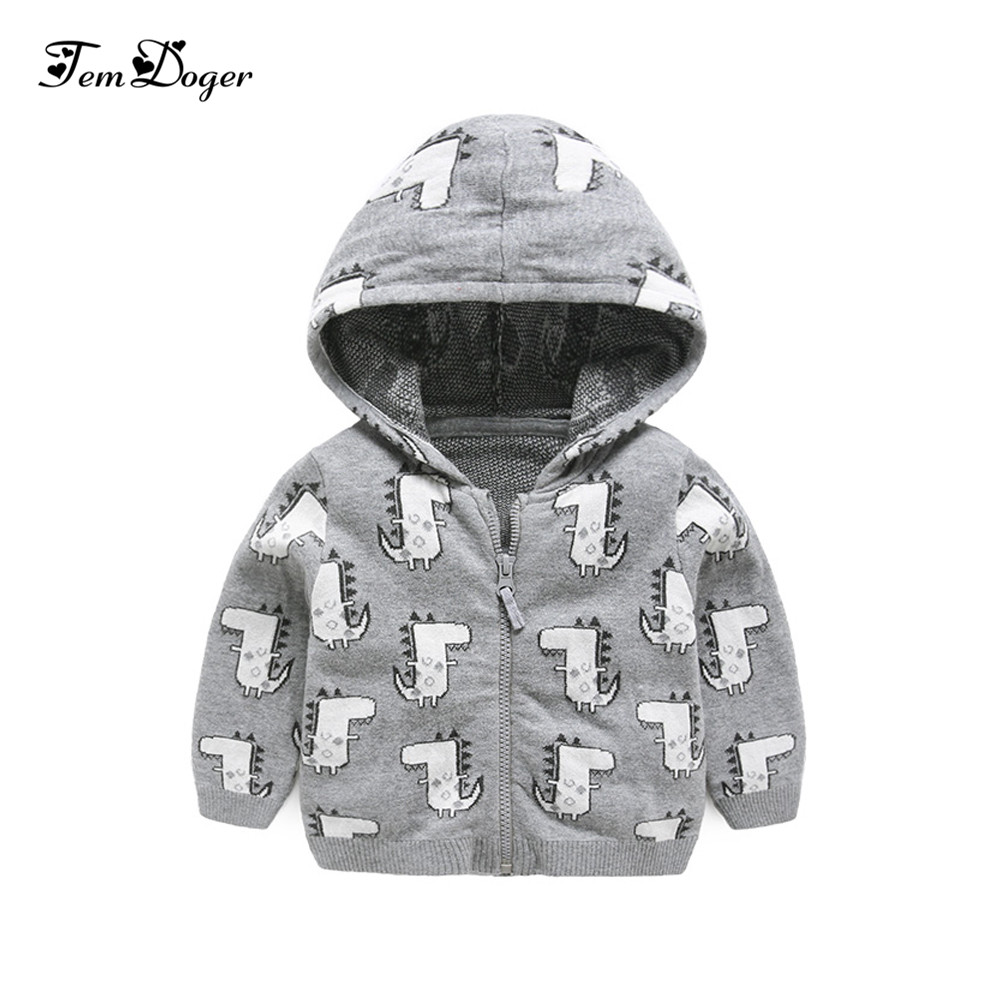 Baby Outerwear Jacket Coat Hooded Bebes Newborn Infant Autumn Unisex Cotton Dinosaur-Style