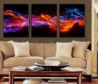 Hot Koop 3 Panelen Abstract Fire Bloem HD Doek schilderen Kunstwerk Muur Opknoping Foto voor Thuis Muur Decor Geen Frame