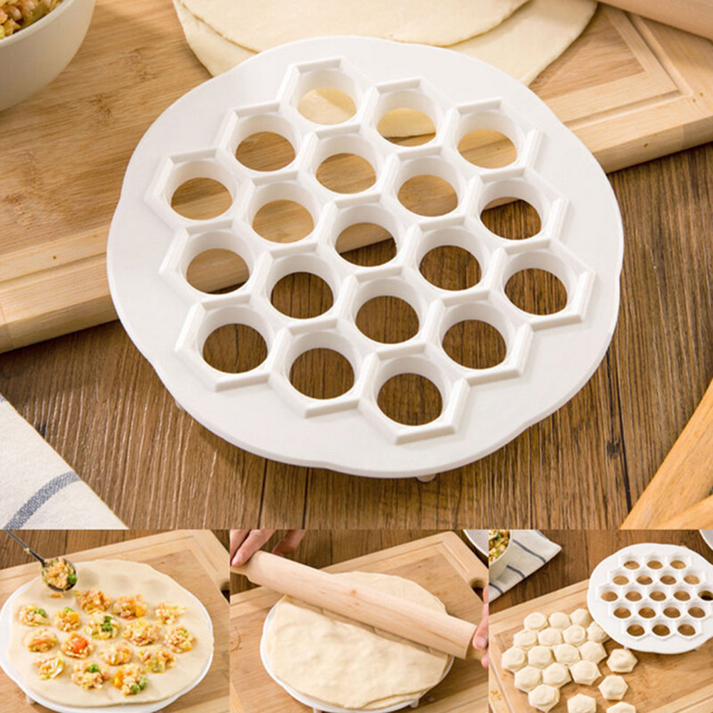 Кухня Кандытарскія інструменты 19 Адтуліны Новыя Пяльмені Mold Tool Maker Цеста Прэс Клёцкі пельмені Клёцкі Maker Кухонныя прыналежнасці