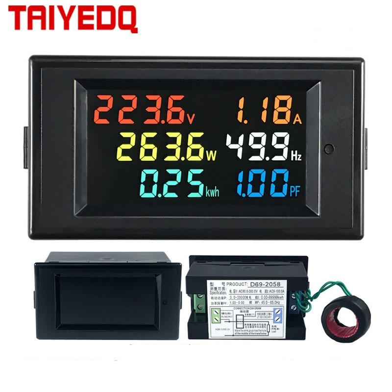 Фотоамперметр, вольтметр, амперметр, коэффициент мощности, измеритель частоты электроэнергии, цифровой панельный ваттметр, ЖК-дисплей, Вол...