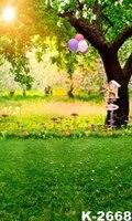 Sunshine Açık Yeşil Orman Fotoğraf Vinil Arka Planında Bebek Çocuk Çocuklar Mutlu Zaman Balon Sahne Fotoğraf Stüdyosu Arka