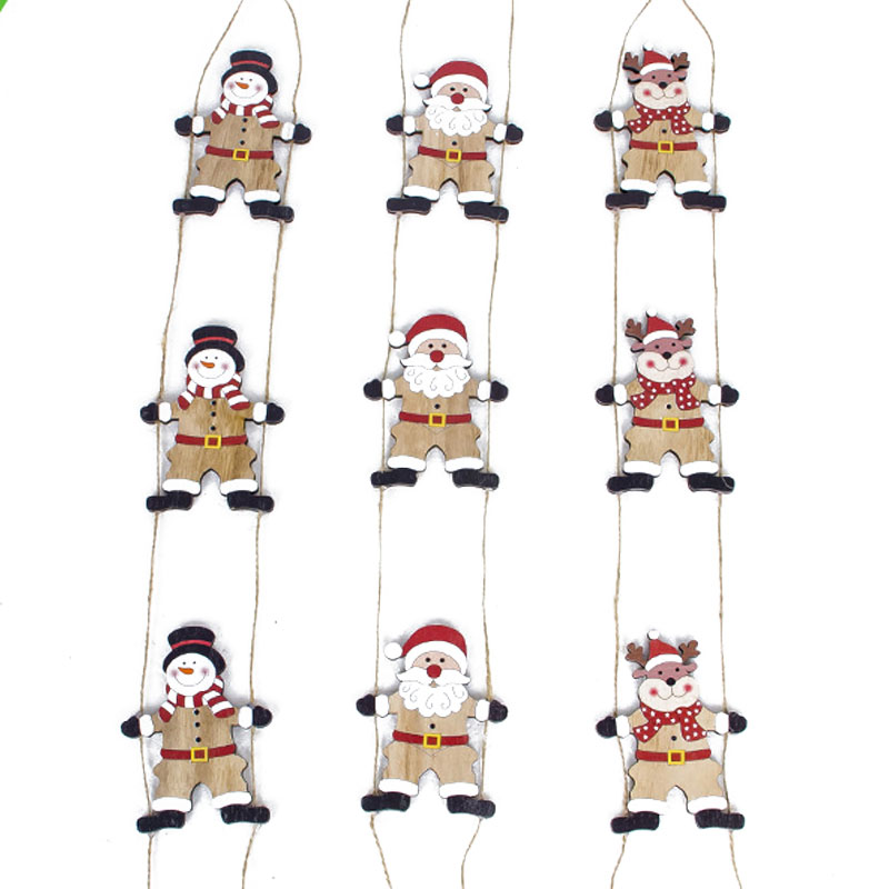 Christmas Pendant Ladder Christmas Tree Drop Ornaments Wooden Santa Claus Snowman Elk New Year Christmas Decorations for Home