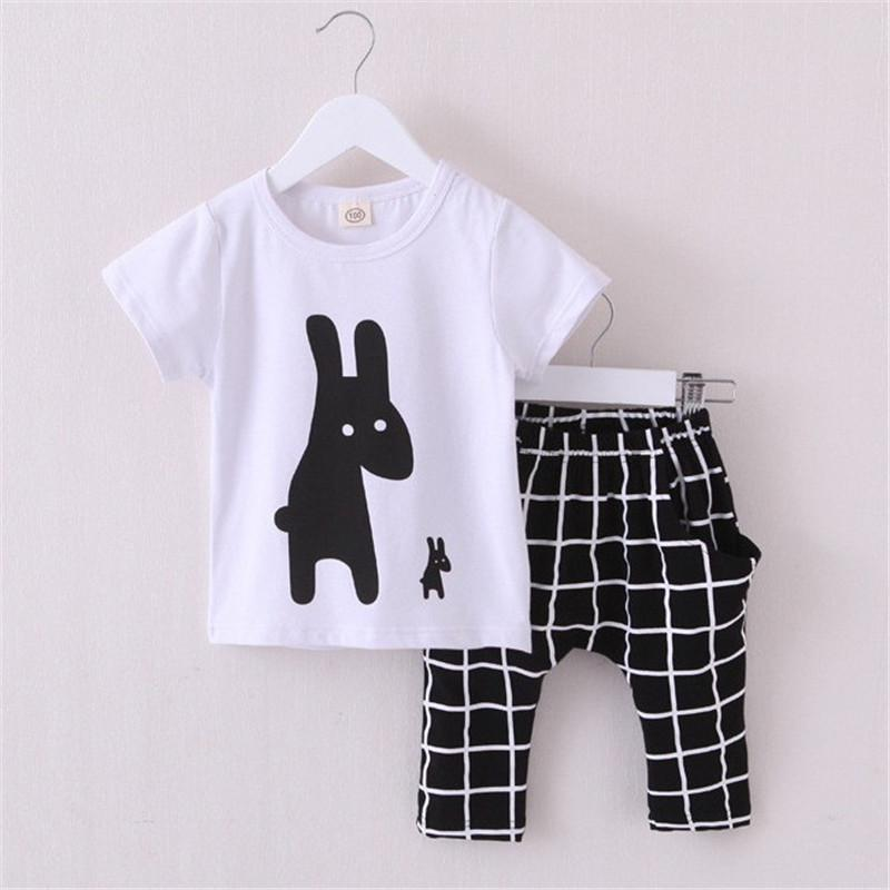 2017 New Summer Boys Clothes Children Clothes for Boys Toddler Baby Boys Clothing Set Short Sleeve T Shirts+ Plaid Pant  new 2015 summer children t shirts baby clothes child 100