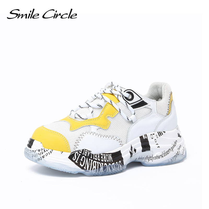 Smile Circle Thick bottom Wedge sneakers Women Lace-up breathable chunky shoes For Women Fashion casual shoes 2018 Autumn smile circle women chunky sneaker breathable mesh lace up thick bottom flat platform shoes for women autumn round toe sneakers