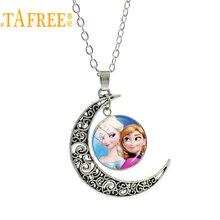 TAFREE серебро Цвет Moon Европейское ожерелье Стиль Снежная Королева Эльза Анна подвеска принцессы Шарм для Сестра девушки мультфильм подарок ES127