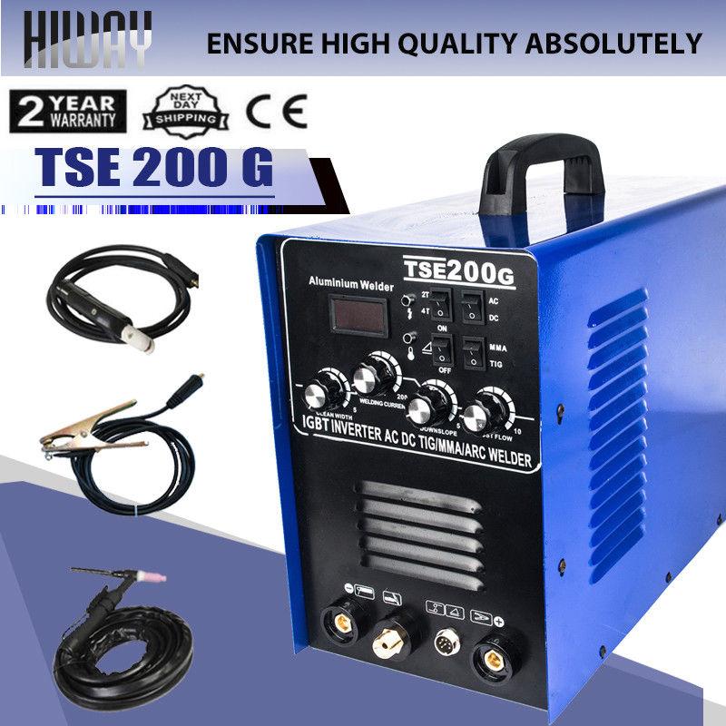 AC DC TIG/MMA/ARC Aluminum Welder Machine Generation 220V & Accessories TSE200G