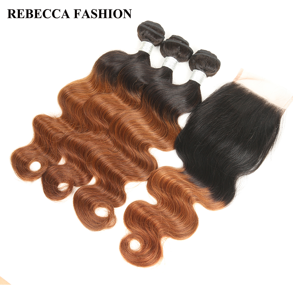 Rebecca Remy Peruvian Ombre Human Hair Bundles with Closure Dark Brown Body Wave Hair Weave T1b30 100g/ Bundle 4x4 Lace Closure
