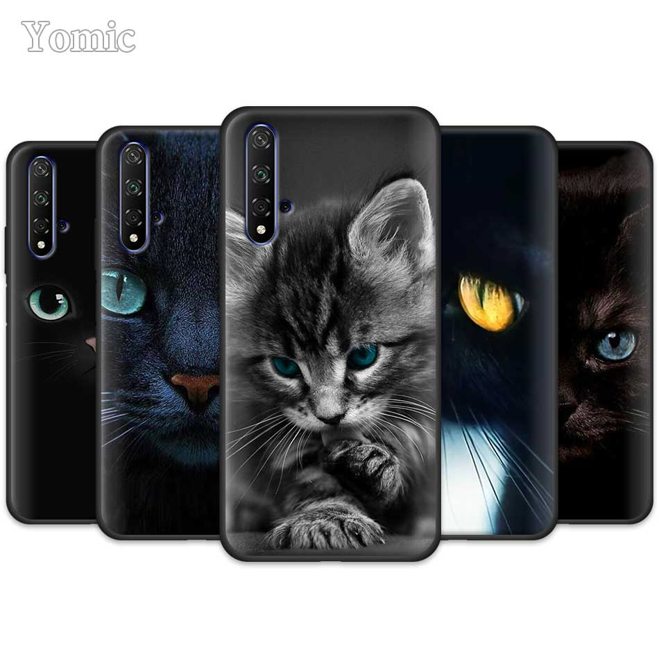 Cute Black <font><b>Cat</b></font> Staring Eyes Black Silicone <font><b>Cases</b></font> for <font><b>Huawei</b></font> Honor Y5 Y6 <font><b>Y7</b></font> Y9 <font><b>2019</b></font> Y9 P30 Pro Honor 20 Pro Phone <font><b>Case</b></font> Cover image