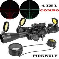 Огненный волк прицел оптика компактный комбинированный 3 9x40EG прицел + лазерный прицел + M1 в красный горошек + CREE T6 светодио дный фонарик
