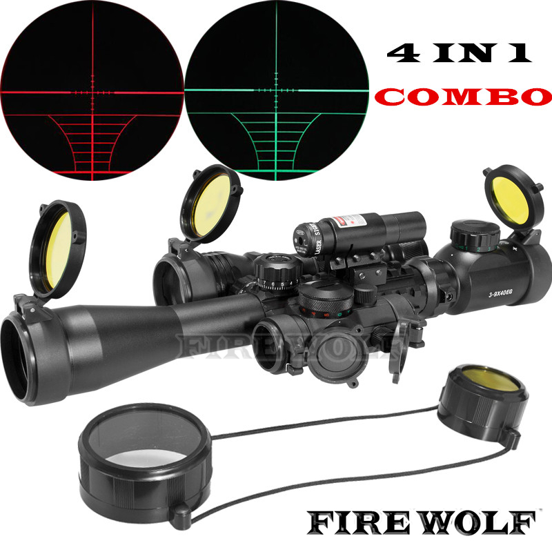 FIRE WOLF Riflescope Optics Compact Combo 3-9x40EG Rifle Scope + Laser Sight + M1 Red Dot + CREE T6 LED Flashlight element ex276 peq15 battery case military high precision red dot laser integrated with led flashlight red laser and ir lens