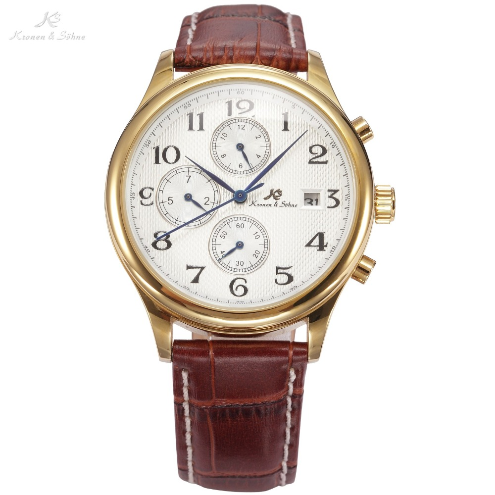 KS IMPERIAL Series 3 Dial 6 Hands Date Month Day Display Brown Leather Strap Men Business Dress Golden Case Luxury Watch / KS155 ks navigator series auto date day month display male leather strap clock white wristwatch men automatic mechanical watch ks178