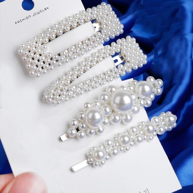 Nuevos 7 estilos mujeres Color plata Metal perla horquillas señora Simple pinzas para el cabello Barrettes accesorios para el cabello