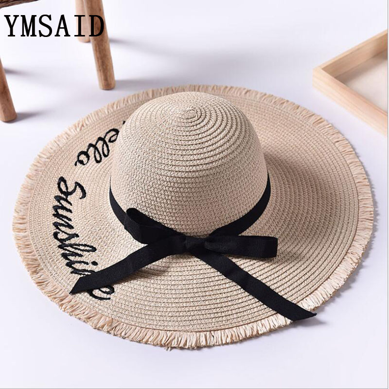 Ymsaid Wide Brim Sun Hats For Women Letter Embroidery Black Bow Panama Straw Hat Folded Floppy Beach Ladies Caps Chapeu Feminino
