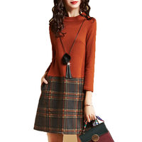 2018 Spring Autumn New Stitching Women Plaid Dress High Waist Knit Large Size Long Sleeves Dresses