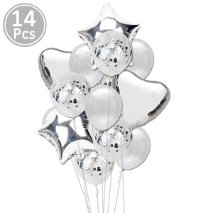 Image 4 - 14pcs Rose Gold Confetti Latex Balloons Set Star Heart Shape Foil Ballon Birthday Party Decorations Kids Adult Babyshower 1st