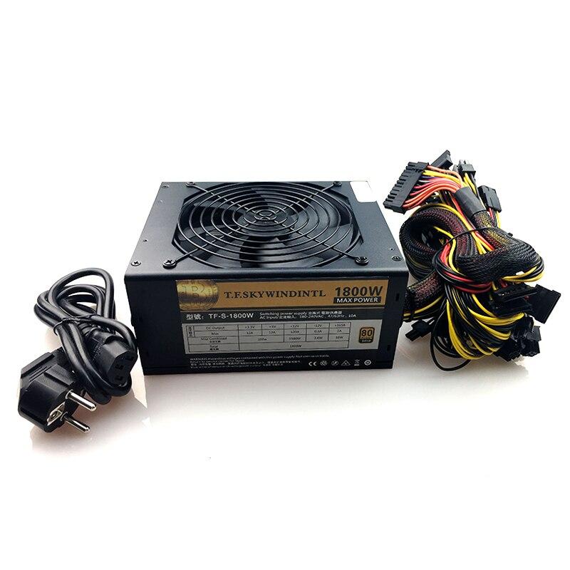 1800 PC настольный источник питания psu Gold power 1800W BTC источник питания для R9 380 RX 470 RX480 6 GPU карт шахтная установка ATX ethereum