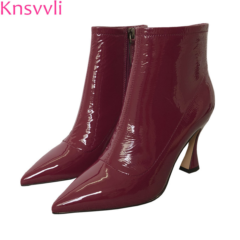 Knsvvli pointed patent leather women high heels ankle boots 2018 new style black white wine red fashion leather booties woman