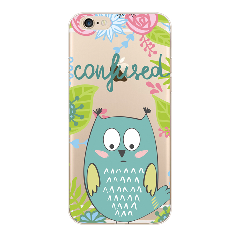 For iphone6 7 8 x xr xamx painted bird language floral transparent mobile phone case TPU mobile phone soft case protective cover in Half wrapped Cases from Cellphones Telecommunications