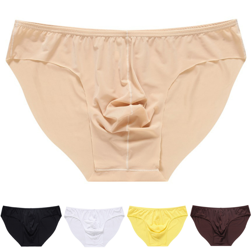 Men's Briefs Soft Breathable Silk Sexy Underwear Men's Hot Hips Up Transparent Jockstrap Sexy Colorful Undies Cueca