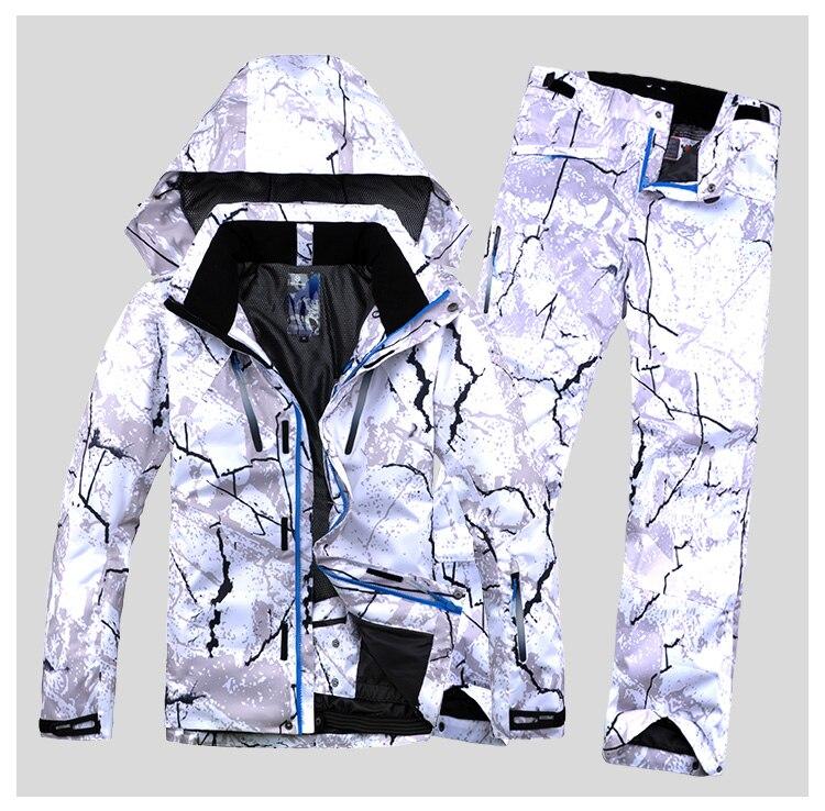 Новый стиль мужской лыжный костюм супер теплая одежда лыжный сноуборд куртка + брюки костюм комплект ветрозащитная Водонепроницаемая зимн