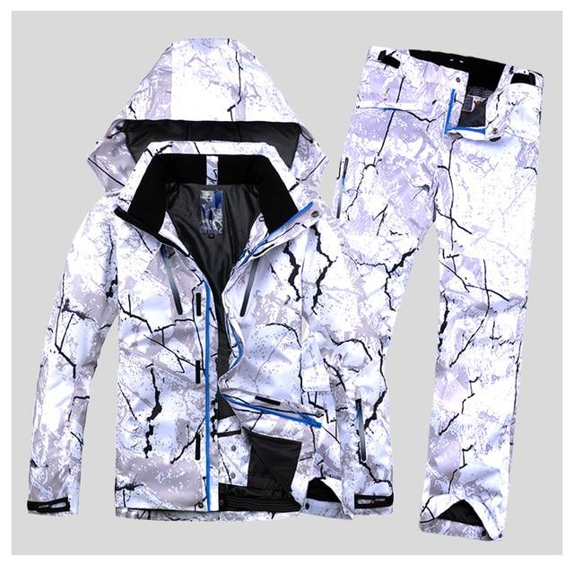 Новый стиль мужской лыжный костюм супер теплая одежда для катания на лыжах сноуборд куртка + брюки костюм комплект ветрозащитная Водонепроницаемая зимняя уличная спортивная одежда