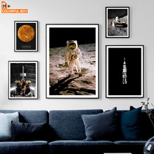 Wall Art Canvas Painting Space Discovery Moonwalk Astronaut Rocket Nordic Posters And Prints Pictures For Living Room Decor