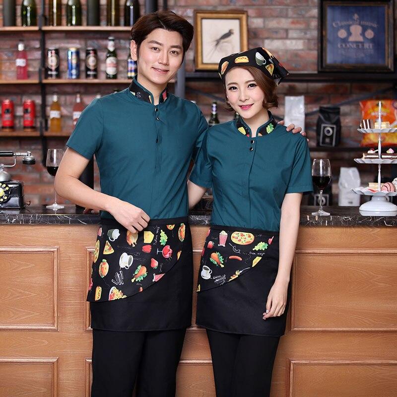 Chef Uniform Western Restaurant Waiter Work Wear Short Sleeved Overalls Female Hotel Restaurant Work Clothes with Apron