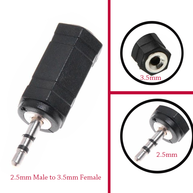 Hot Sale 2.5 Mm Male To 3.5 Mm Female 2.5 To 3.5 Stereo Jack Audio Phone Headphone Black Earphone Converter Adapter Cable Plug