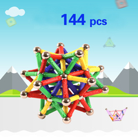 Magnet Bars Metal Balls Kids Magnetic Construction Model Building Blocks Set Toys Accessories DIY Designer Educational