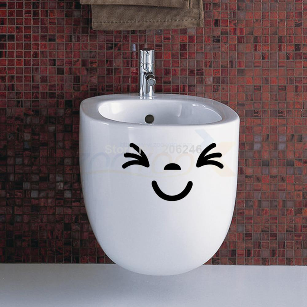 Creative Smiling Face Toilet Wall Stickers For Bathroom Window Home Decoration Vinyl Wall Decals 305 Decorative Removable Mural