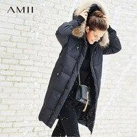 Amii минималистский 90% белый пуховик Длинные куртки для женщин зима 2018 повседневное одноцветное енота меховой воротник плюс размеры женский