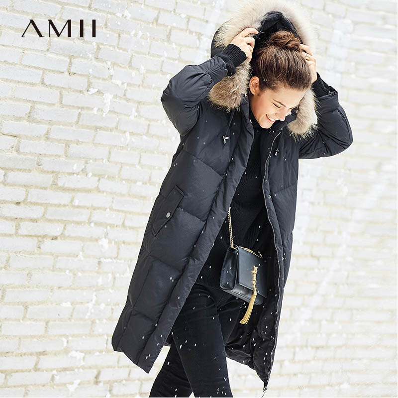 Amii Minimalist 90% White Down Long Jackets Women Winter 2018 Casual Solid Raccoon Fur Collar Plus Size Female Down Coat Parkas