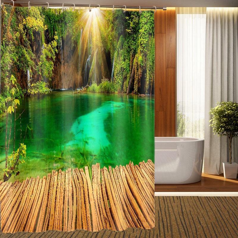 MYRU 3D Print Waterproof Lake View Shower Curtains Bath