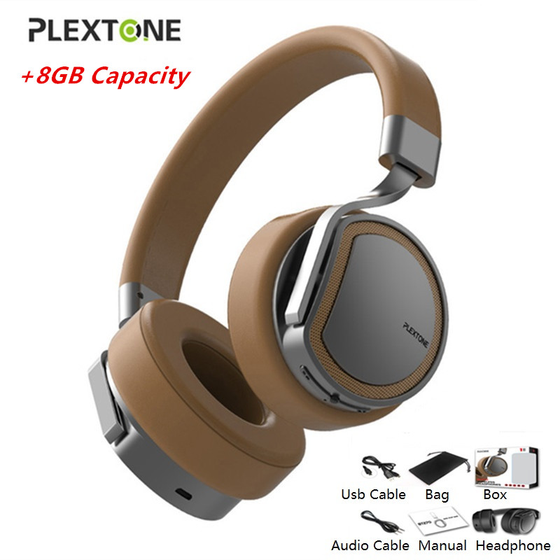 PLEXTONE Bluetooth Headphones with 8GB MP3 Player Headset Over-ear Wireless Handsfree Earphone for Mobile Phone Gaming Headphone hongbiao sm stereo bass earphone headphones metal handsfree headset 3 5mm earbuds with micphone for all mobile phone mp3 player