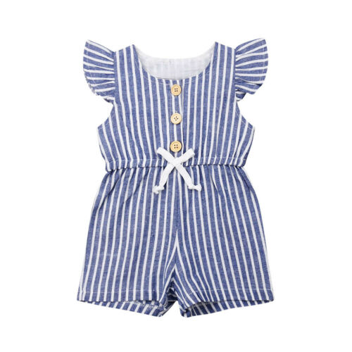 Pudcoco Toddler Baby Girl Summer Clothes Stripe Flying Sleeve Button One-piece   Romper   Jumpsuit Sunsuit Clothes