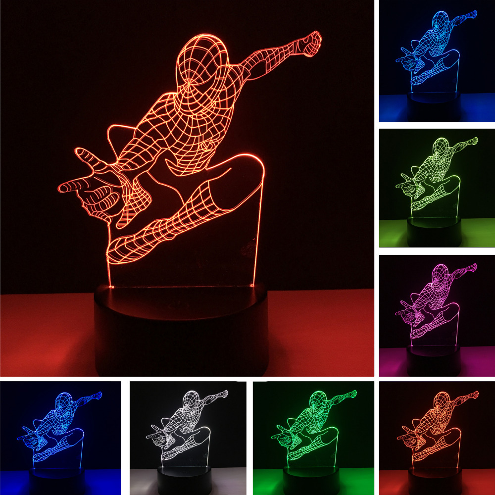 New Jumping Spider Man 3D 7 Colors Changing illusion Led Night Lights LED Desk Table Bedside Sleeping Lamp Home Decor Xmas Gifts superior spider man volume 3