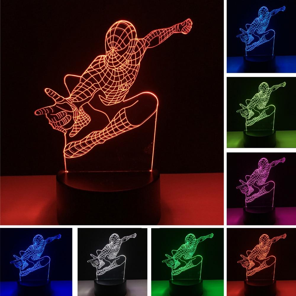 Nouveau Saut Spider Man 3D 7 Couleurs Changeantes illusion Led Nuit lumières LED Bureau Table De Chevet Lampe de Couchage Décor À La Maison De Noël Cadeaux