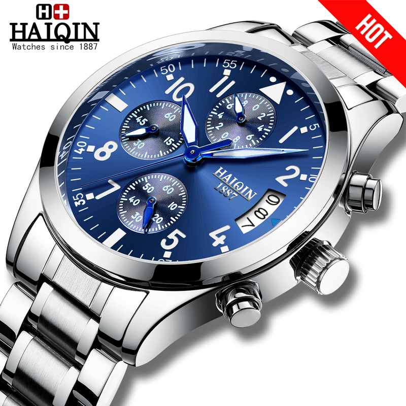 HAIQIN Mens watches Business Mens watches top brand luxury watch men Quartz Sports wrist watch men Dress relogio masculino 2019HAIQIN Mens watches Business Mens watches top brand luxury watch men Quartz Sports wrist watch men Dress relogio masculino 2019
