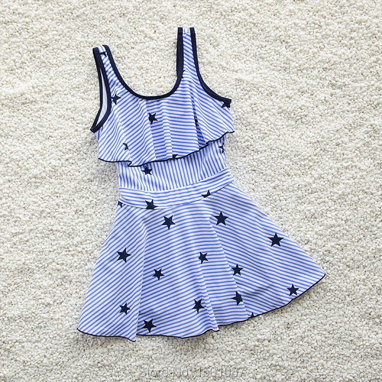 New Arrival Kids Swimsuit Quality Girl Baby Princess Swimwear One-pieces Bath Suit Infant Stripe Stars Children Beachwear(China)